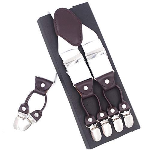 DYDONGWL HosenträGer/Mode Hosenträger Leder 6clips Hosenträger männlich Vintage lässig Suspension Stretch Hose Strap Vater/Ehemann Geschenk 3,5 X 120 cm -
