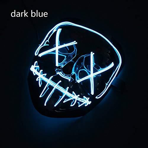 WSJMIANJU Halloween-Maske Halloween-Maske LED-Maske Leuchtende Party-Masken Neon Maska Cosplay-Wimperntusche Horror-Wimperntuschen Glow In Dark Masque V für Vendettadunkelblau -