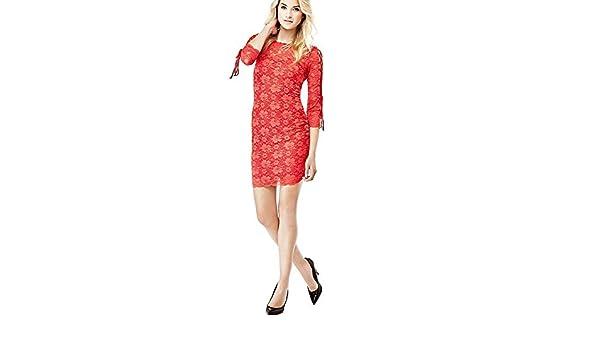 Guess Robe Dentelle Femme Slim Susanna Rouge W73k77: Amazon