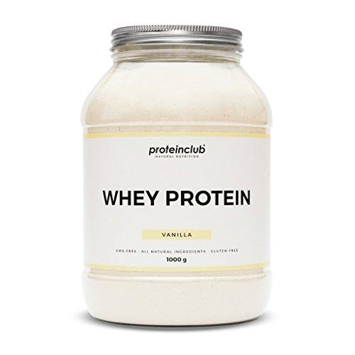 proteinclub Natural Whey Protein ohne Zusatzstoffe • Proteinpulver ohne künstliche Aromen, Farb- & Süßstoffe • Eiweißpulver natürlich gesüßt mit Stevia & Bio-Agave • GVO- & Glutenfrei • Hergestellt in Deutschland • 1000g (Vanilla)