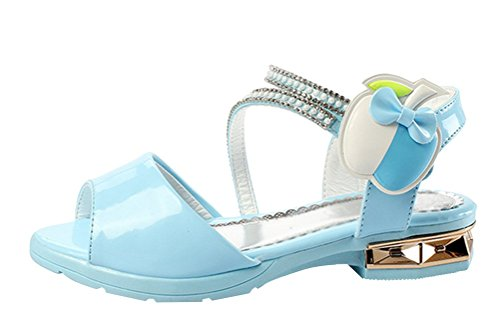 Brinny Mode Fille Chaussures à talon Bloc Velcro pomme Diamante Cérémonie Ballerines Sandale Demoiselle d'honneur Flamenco Escarpin à petite talon Bleu