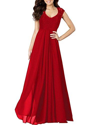 OUMIZHI Damen Elegant Spitzen Abendkleid VAusschnitt Brautjungfer ...