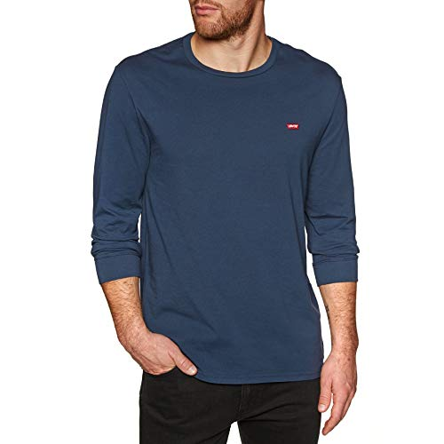 Levi's original hm tee, t-shirt uomo, blu (ls cotton + patch dress blues 0001), large