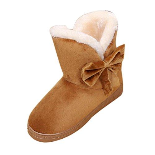 Damen Schlupfstiefel | Bowknot Warme Frauen Wohnungen Schuhe | Schnee Frauen Stiefel | Herbst Winter | Mode Im Freien | Sunday (Braun, 40-41 EU) (Boot Mokassins Frauen)
