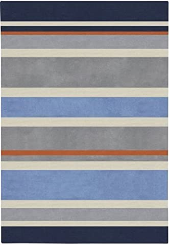 2' x 3' Midnight Blue and Dove Gray Striped Rectangular Area Throw Rug by Diva At Home
