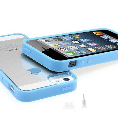 Xaiox Bumper ® iPhone 5/5s Cristal Transparent Clear Coque arrière en verre, y compris de 2 Films de protection (mat + brillant) et 2 films de protection anti-poussière pour prise Jack B