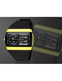 Relojes Hermosos, Negro banda de silicona esfera de un reloj redondo reloj de pulsera de reloj del deporte del salto movimiento de la moda de Japón de los hombres ( Color : Amarillo , Talla : Una Talla )