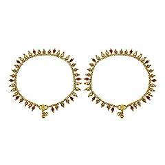 Idea Regalo - Muchmore trendy, placcata oro & rubino indiano cavigliera Payal party Wear gioielli per le donne