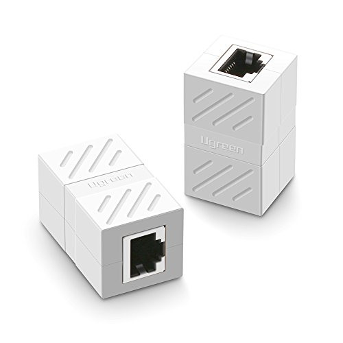 UGREEN Ethernet Kabel Verbinder RJ45 Patchkabel Kupplung Lan Kabel Verbinder cat 6 Netzwerk Adapter geschirmte Modular Kupplung Netzwerkkoppler, Weiß, 2 Stücke