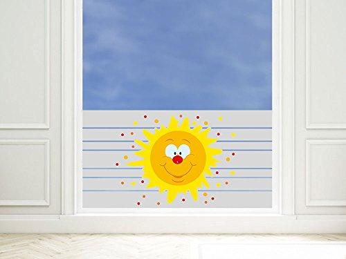 graz-design Sichtschutzfolie Sonne lacht mit Gesicht   Matte Glasdekorfolie zur Deko   Fensterfolie bedruckt (90x57cm)