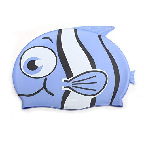 JJJ Berretto da Nuoto per Bambini, Berretto da Nuoto per Bambini con paraorecchie Animali da Fumetto Impermeabile in Silicone per Ragazzi e Ragazze (2 Pezzi),Blue