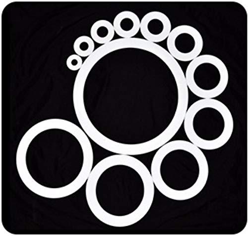 Ochoos Abstandshalter, flach, PTFE-Teflon-Dichtung, OD 8 9 10 10,5 12 14 x 5 x 0,2 0,3 0,5 0,6 0,8 1 mm, Schienbein-ID 5 mm, 100 Stück, OD 8mm / White / 0.5mm / 5mm - Teflon-o-ring