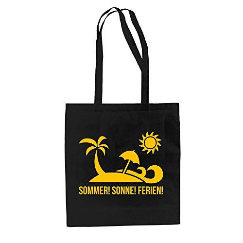Jutebeutel Baumwolltasche - Sommer Sonne Ferien - von SHIRT DEPARTMENT kellygrün-gelb