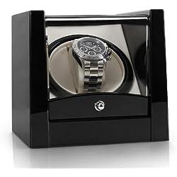 Klarstein 8PT1S Uhrenbeweger für 1 Uhr Automatik-Uhren-Beweger (geringe Stellfläche, Linkslauf/ Rechtslauf, leise, Sichtfenster) schwarz