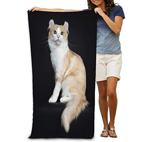 zexuandiy Bath Towel Hotel & Spa Extra-Absorbent Towel 31.5 X 51.2 for Beach & Bath Adorable Adult Creme White Male American curl Black Sitting Side Ways cat Background -