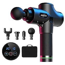 ABOX Massagepistole für Nacken Schulter Rücken Massage Gun Massagegerät Elektrisch Entspannen mit 4 Massageköpfen und 20 Geschwindigkeiten Vibrationsgerät Muskel, Schwarz