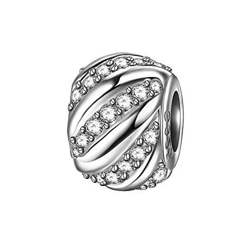 J.Endéar Charms Bead 925 Sterling Silber Daman Anhänger passt Pandora Armband Halskette Funkelnden Zirkonia mit Geschenk Box (Aufbewahrungsbox Anhänger)