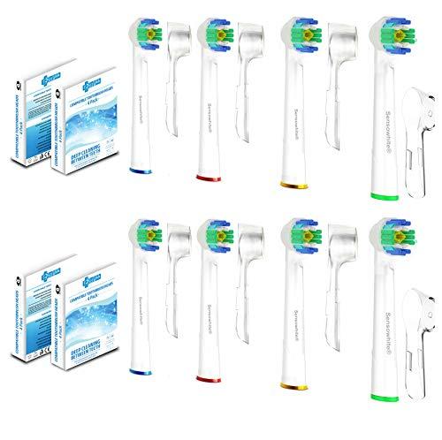 3DWhite Aufsteckbürsten für Oral B Elektrische Zahnbürsten, 8 Stück. 3D white Zahnbürstenaufsätze ist voll kompatibel mit Braun Oralb Vitality, Pro Health, TriZone, Advance Power, Professional Care, Triumph und Deep Sweep -