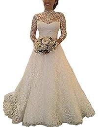 e4523805ab74 Sunlera Femmes Transparent à Manches Longues Robe de mariée en Dentelle de  mariée Boule Robes Photo