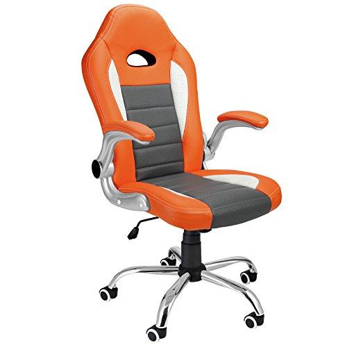 Deuba | Silla de escritorio de diseño deportivo | Silla giratoria | color naranja gris | Silla de cuero sintético robusto | poliuretano | Silla de oficina ergonómica | medidas: 66 cm x 64,5 cm x 115-123 cm ||