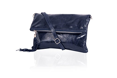 Clutch ,Borse a spalla (28 / 19 / 4 cm ) in pelle Mod. 2059 by Fashion-Formel blu