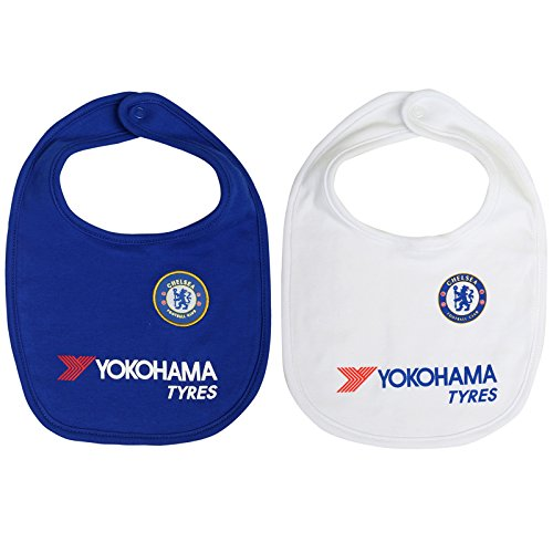 Chelsea Football Club Official 2 Pack Of Bibs Baby Toddler One Size Crest Badge -