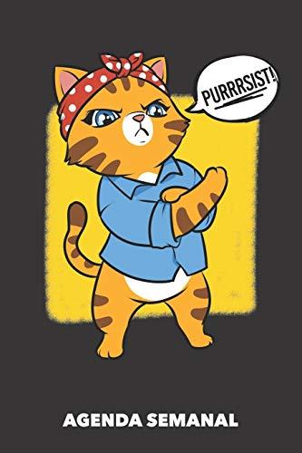 Agenda Semanal: Gato de Resistencia A5 manuscrito floral - Cuaderno con Planificador Semanal 52 Semanas para dueños de gatos (negro)