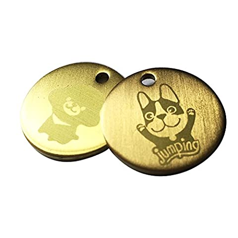 Engraved 25mm Dog ID Tag Bronze Pet Medal (Jumping