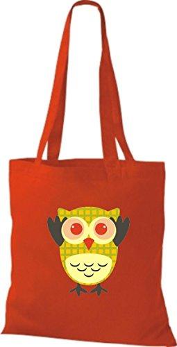 ShirtInStyle Jute Stoffbeutel Bunte Eule niedliche Tragetasche mit Punkte Owl Retro diverse Farbe, hellblau rot