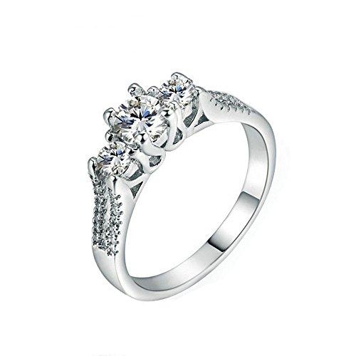 925 Sterling Silber Eternity erstellt Diamant Edelstein Trauringe 5mm Durchmesser Geschenk für Liebhaber,Größe:59(18.8)