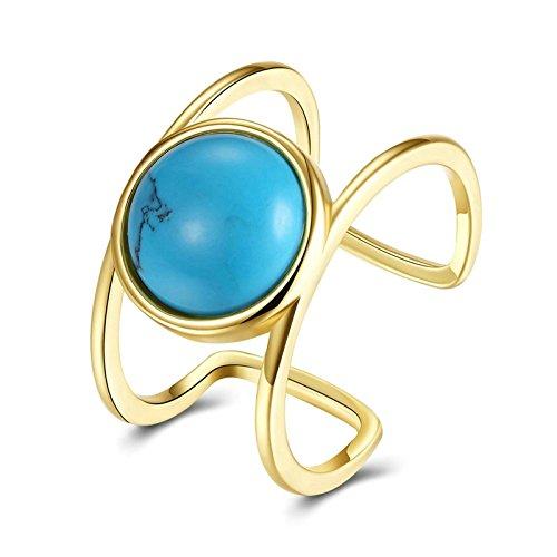 Daesar Ringe Damen Vergoldet Ringe Türkis Öffnung ring Gold Ringe Gr.57 (18.1)