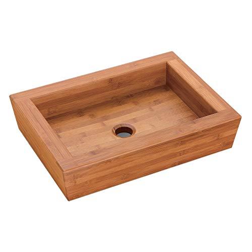 NEG Waschbecken Madera E53 (eckig) Bambus-Massivholz-Aufsatz-Waschschale/Waschtisch mit versiegelter/karbonsierter Oberfläche