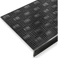 Alfombrillas antideslizantes de goma con borde, para interior y exterior, para las escaleras, 5 unidades, Negro