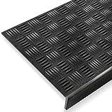 Antirutsch Stufenmatten aus Gummi mit Winkelkante | rutschhemmend für außen und innen | zwei Größen zur Wahl im 5er Set | viele Designs für Ihre Treppe | Design Tränenblech - 75 x 25 cm