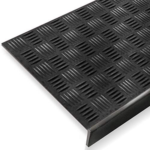 Stufenmatte aus Gummi | mit stark rutschhemmendem Riffelprofil | 25x65cm | verschiedene Stückzahlen (5er-Vorteilspack)