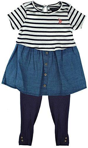 U.S.POLO ASSN. Mädchen US Polo Nautische Streifen Kleid Top & Leggings Kostüm Größen von 24 Monate bis 6 Jahre - Mehrfarbig, 4 years