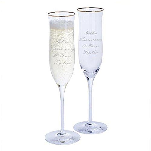 Dartington Golden Anniversary Paire de flûtes à champagne Celebration avec bord doré - 50 ans Ensemble