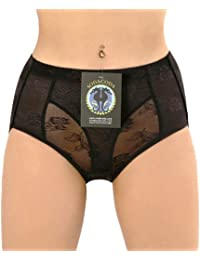 Sodacoda Culotte dentelle avec Coussinets en mousse améliorateur des fesses, control du ventre taille basse a moyenne - Beige/Noir