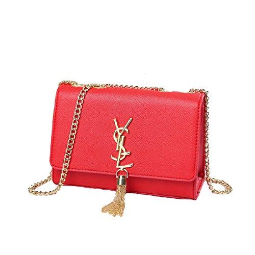 2018 Frauen Sommer Fringe Damentaschen Sets Kette Schultertaschen Mini-Taschen Handtaschen Messenger Bags(Rot-S) (Rote Bag Mini-messenger)