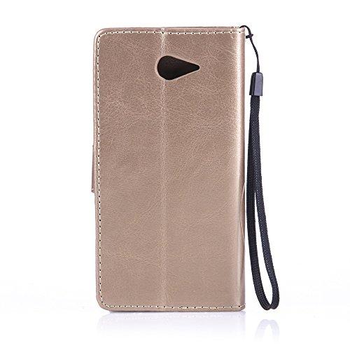 Prägen Blumen-Case, Magnetverschluss Synthetische PU-Leder-Kasten-Abdeckung mit hängenden Seil und Wallet-Funktion für Sony M2 ( Color : Purple , Size : Sony M2 ) Gold