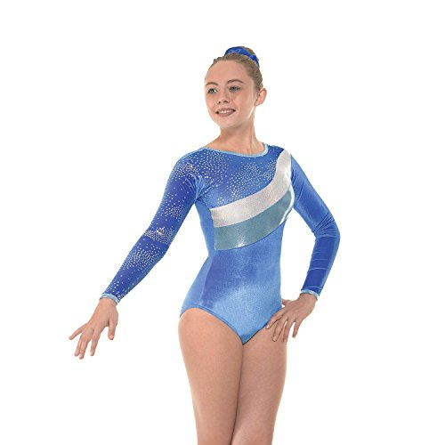 Gym 31 Tappers and Pointers Gymnastic Leotard (Royal Smooth Velvet/Astro Silver Foil, Size 3a (approx age 11-12 years))