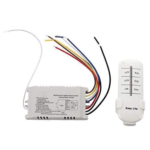 XZANTE Inalambrico 4 Canales ON/OFF 220V Lampara Transmisor del receptor del interruptor de control remoto