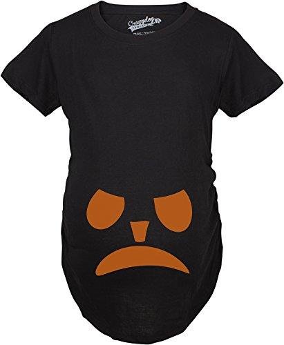 ternity Frowning Pumpkin Face Halloween Pregnancy Announcement T Shirt (Black) 3XL - Damen - 3XL (Mutter Und Sohn Halloween Kostüme)