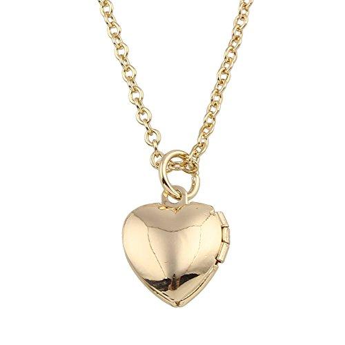 Pl Mini-anhänger (Styleziel Mini Damen Schmuckset Halskette Medallion Foto Medaillon Herz Anhänger zum öffnen Kugelkette Gold Rosegold pl 47cm I love you 2288)