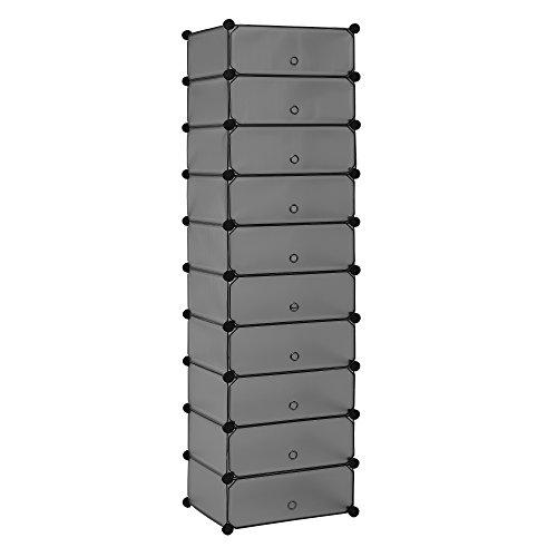 [neu.haus] Regalsystem DIY mit 10 Fächern schwarz [174x49cm] Kunststoff Steckregal