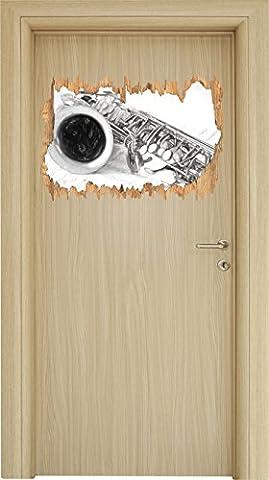 Saxophon auf Notenpapier Kohle Zeichnung Effekt Holzdurchbruch im 3D-Look , Wand- oder Türaufkleber Format: 62x42cm, Wandsticker, Wandtattoo, Wanddekoration