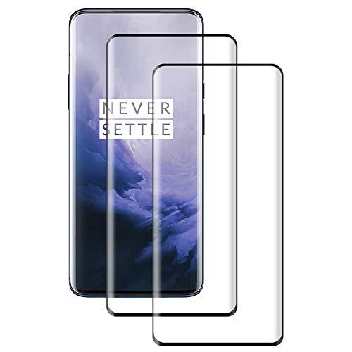 POOPHUNS 2 Stück Panzerglas Schutzfolie kompatibel mit OnePlus 7 Pro, Gehärtetes Glas Bildschirmschutzfolie mit 9H Härte, 3D Vollständige Abdeckung HD Ultra Klar, Bildschirmschutz Folie für OnePlus 7 Pro