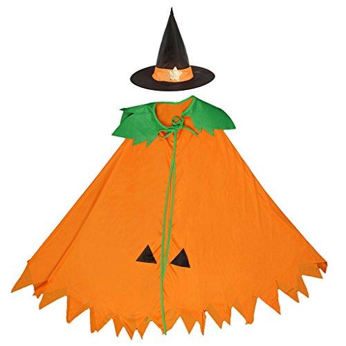 Gazechimp Halloween Zauberer Hexe Umhang Karneval Fasching Kostüm umhänge Cosplay Hexen Robe mit Hut Kürbis Form für Kinder / Erwachsene - Kinder (Kegel Kostüme Für Halloween)