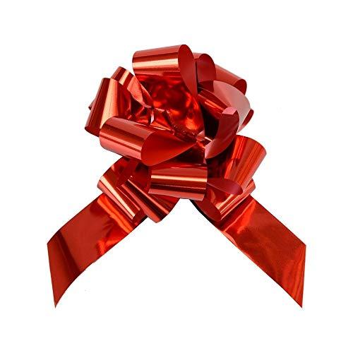 50 Coccarde Granfiocco Piccole Reflex Da Specchietto Per Matrimonio (Rosso)