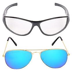 Criba Anti-Reflective Aviator Unisex Sunglasses - (MNGGL|50|Black Color)